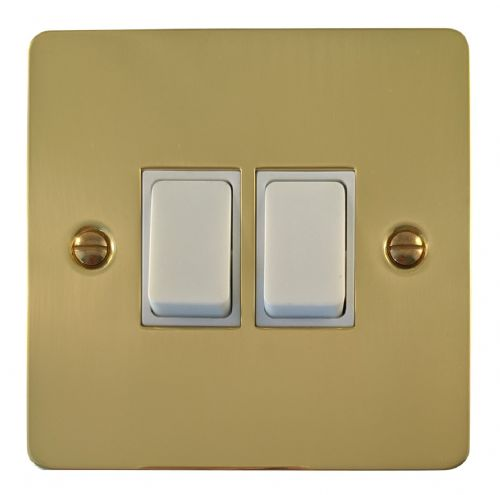 G&H FB2W Flat Plate Polished Brass 2 Gang 1 or 2 Way Rocker Light Switch